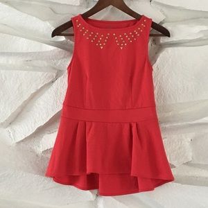 MOSSIMO RED CORAL STUDDED PEPLUM TOP VALENTINES